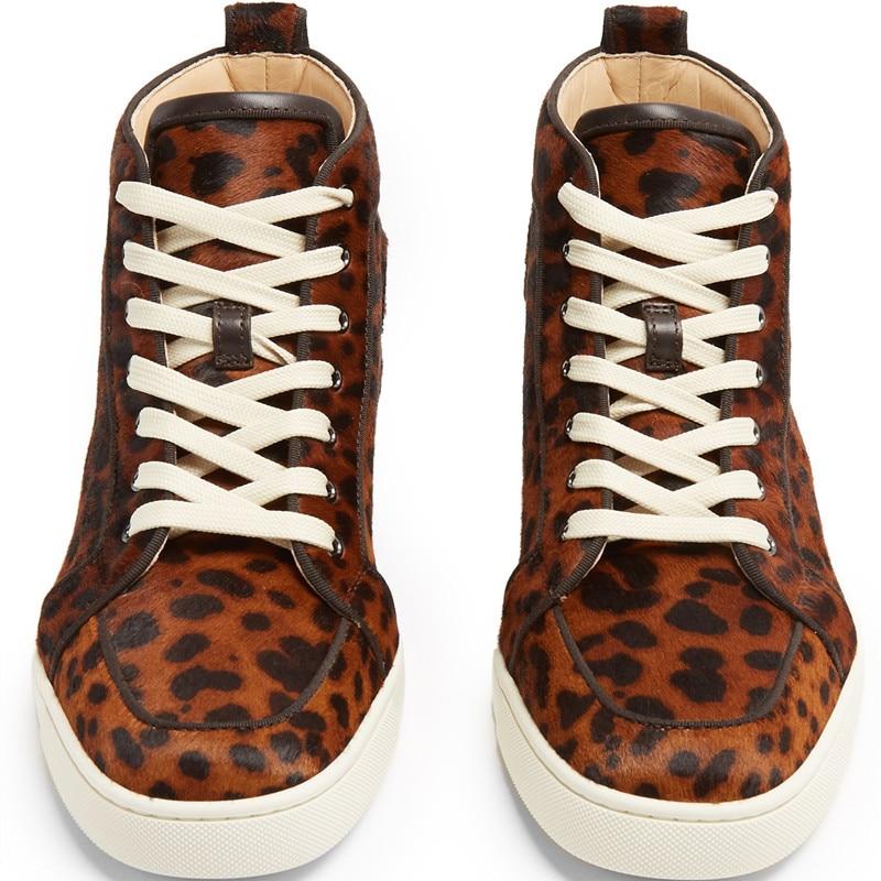 Qianruiti Men Leopard Shoes Horsehair Sneaker Lace up Flat High Top ... d49984729011