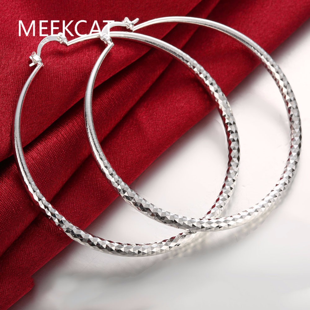 الأزياء 925 ختمها الفضة مطلي جولة السمك التزاوج الكبير هوب القرط سحر كبير دائرة هوب القرط مجوهرات عروس دي بلاتا