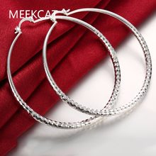 Fashion 925 stamped silver plated Round Fish Mating Big Hoop Earring Charm Large Women Circle Hoop Earring Jewelry aros de plata(China)