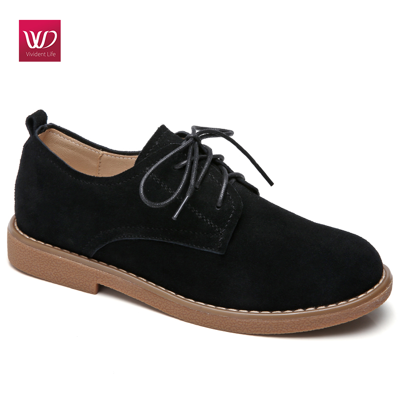 Vivident British Style Flats Women Shoes Oxford Casual Suede Round Toe Low Heel  Lace Up Leisure Boots Autumn Zapatos Mujer front lace up casual ankle boots autumn vintage brown new booties flat genuine leather suede shoes round toe fall female fashion