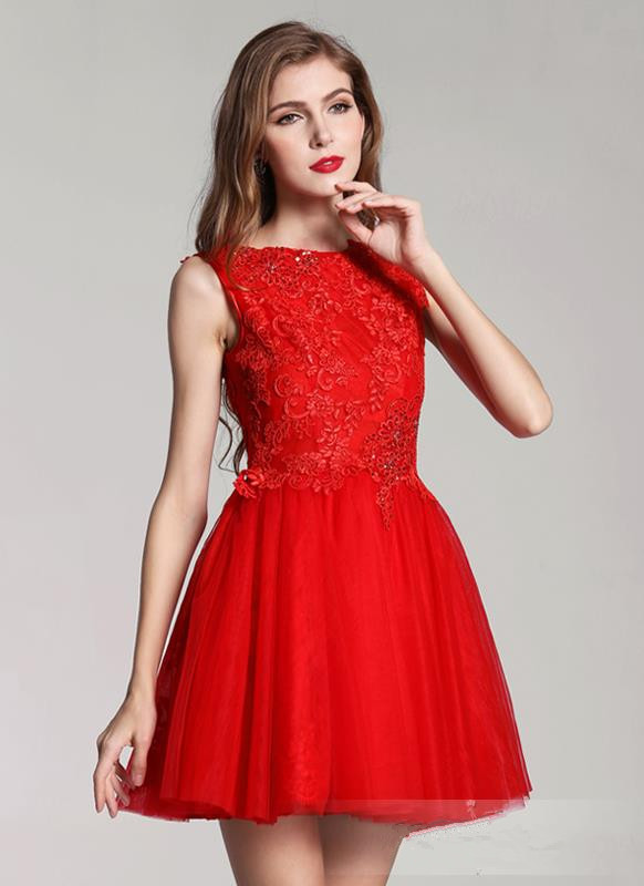 Red short lace dresses prom