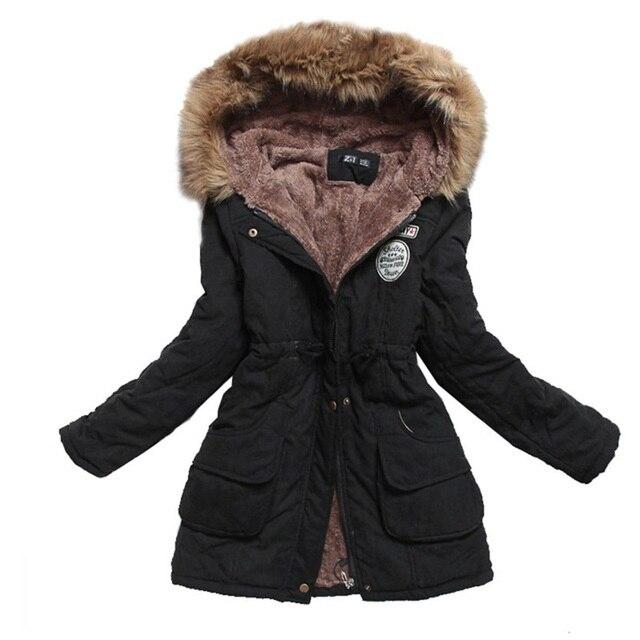 Autumn Winter Jacket Women Parka Warm Jackets Fur Collar Coats Female Long Parkas Hoodies Office Lady Cotton Plus Size
