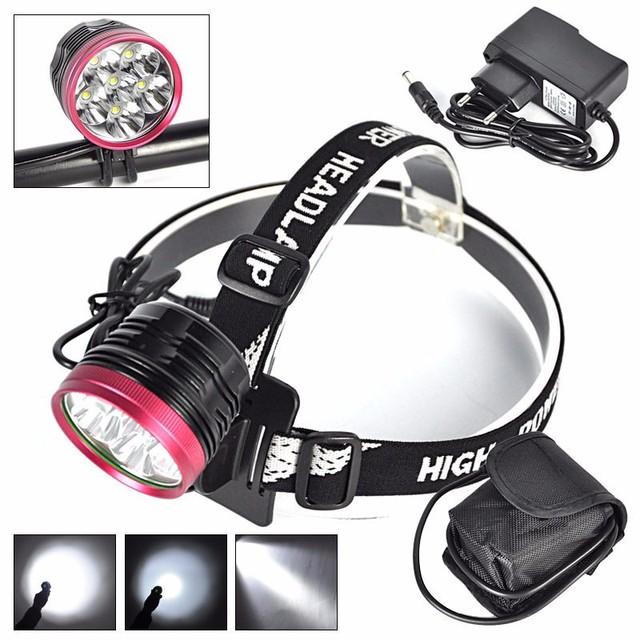 Ultra-Bright 9000 Lumens XM-L 6T6 LED Headlight 6T6 Headlamp Bicycle Front Light Lamp + Charger +8.4V Battery Pack