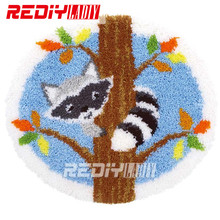 Latch Hook Kits Acrylic Yarn Embroidery DIY Carpet Rug Racoon on a Tree Multi-Colour Pre-Printed Wall Hanging Unfinished Crafts(China)