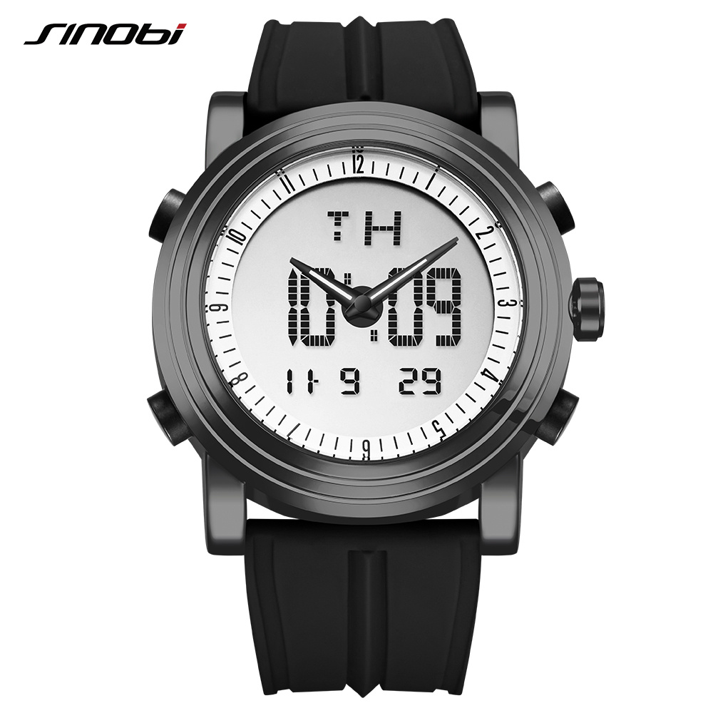 SINOBI Digital Watch Clock Waterproof Geneva Chronograph Quartz Sports Men's Relogio