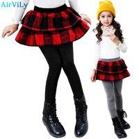 Winter Retail Girl Leggings Girls Skirt Pants Cake Skirt Girls Warm Pants Kids Plaid Slim Leggings