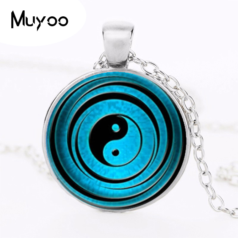 Wholesale Glass Cabochon Dome Jewelry Yin Yang Necklace Handmade Glass Asian Pendant Glass Dome Necklace Vintage HZ1