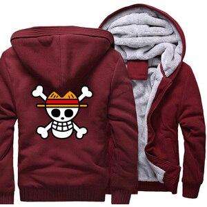 Image 5 - One piece Hoodies Männer Japanischen Anime Sweatshirts Mantel 2019 Winter Warme Fleece Dicken Zipper Harajuku Jacke Streetweart Herren Tops