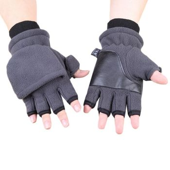 Women Men Winter Polar Fleece Half Finger Flip Gloves Double Layer Thicken Touch Screen Fingerless Convertible Mittens Wrist War half a war
