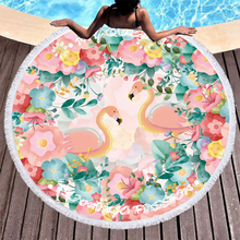 Boho Beach Towels Printed Pink Flamingo Towel Microfiber Round Fabric Bath For Living Room Home Decorative