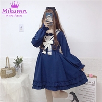 2019 Spring New Women Lolita Princess Dress Japanese Style Mori Girl Bow Navy Sailor Collar Preppy Style Kawaii Ruffles Dress