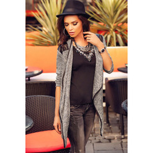 2015 New Fashion Winter Women Cardigan Grey Patchwork Casual Female Coat Long Sleeves Outwear on Hot Selling