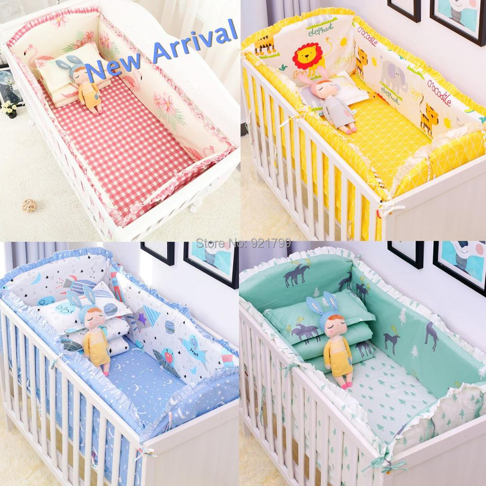 2019 New 6Pcs Baby Crib Bumpers Bedding Cartoon Baby Bedding Sets Bed Around Cot Sheets Cotton
