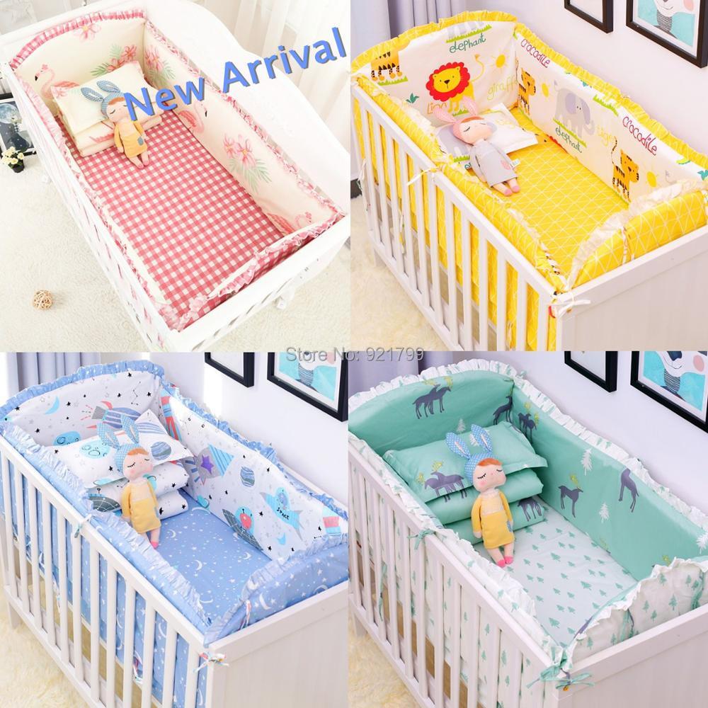 2018 nouveau 6 pièces bébé berceau pare-chocs literie dessin animé bébé literie ensembles lit autour de lit draps coton épaississement beau bébé pare-chocs