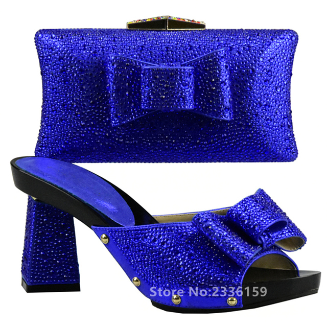 matching shoes and bag set decorated with rhinestone royal blue