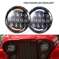 4pairs 105W 7 Inch Round LED Headlight With DRL For Wrangler 07 15 TJ JK Hummer