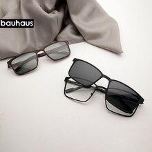Bauhaus магнитные солнцезащитные очки с зажимом на металлической оптической оправе мужские Поляризованные по рецепту Близорукость