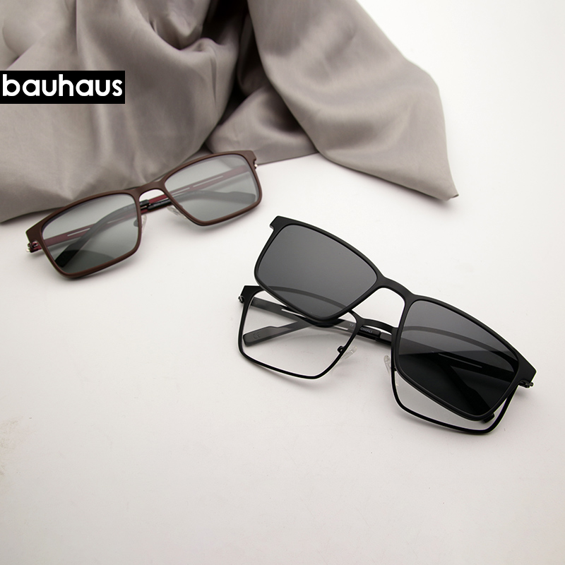 Bauhaus Magnet Sunglasses Clip On Metal Optical Frame Men Polarized Custom Prescription Myopia