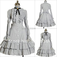 NEW Black Knee-Length Victorian Gothic Lolita Dress