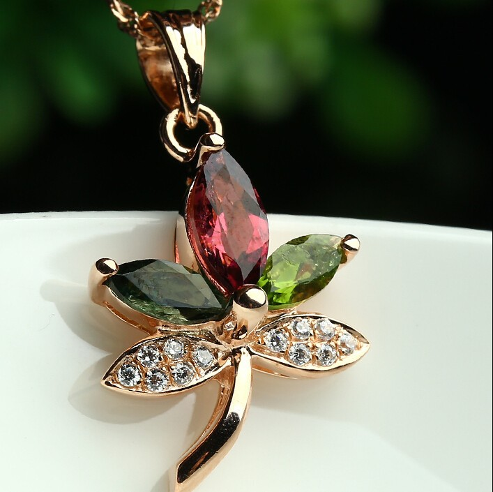 New Pure 925 Sterling Silver Crystal colourful Maple leaves Pendant With Certificate