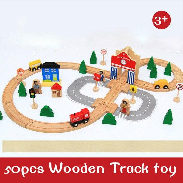 50 pcs en bois voie ferrée train garçon oyuncak voiture jouet retour vers le futur train ensemble train brio enfants jouets pour enfants moulé sous pression