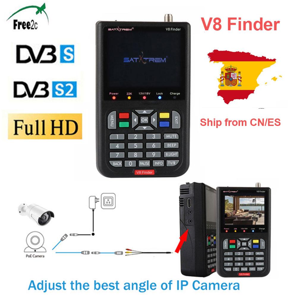 V8 DVB-S2 Localizador Localizador de Satélite de Alta Definição MPEG-4 S2 Full 1080 P FTA DVB 3.5 polegada LCD Sentou localizador