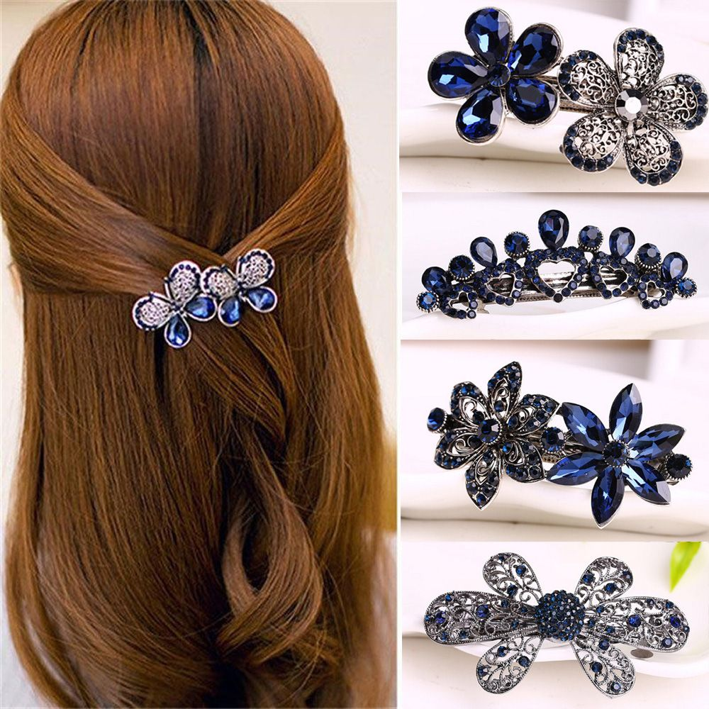 Vintage Hair Pin Rhinestone Floral Design - UshopTwo
