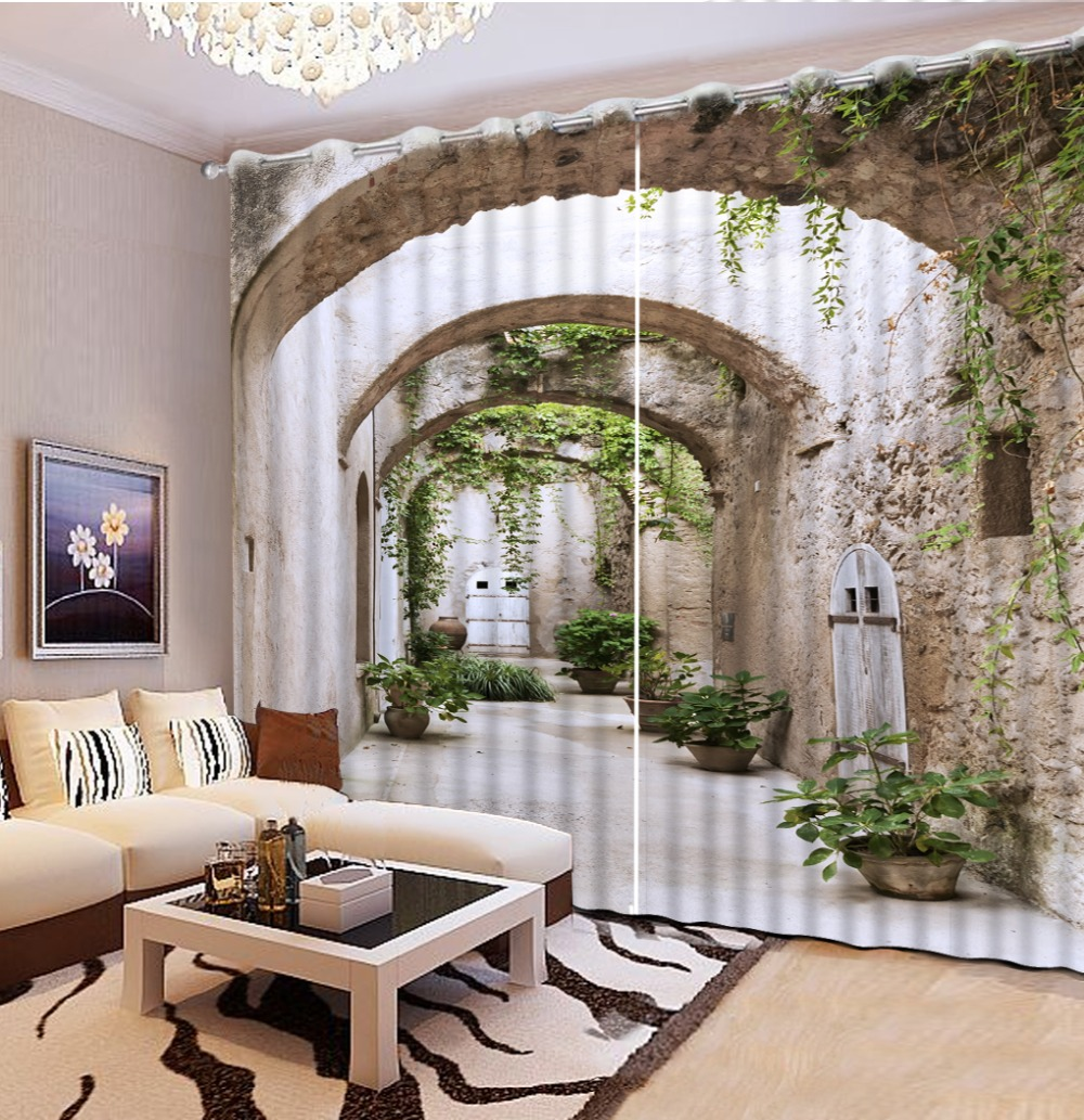 Modern Home Decoration Living Room Curtains 3d Corridor Scenery Curtain Kitchen Fashion Beautiful Blackout Curtains