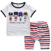 Summer boy 2 pcs sets Fashion Baby Boy short sleeve T- shirt + shorts capris kid clothes Little guard strip pants for 2-6 year