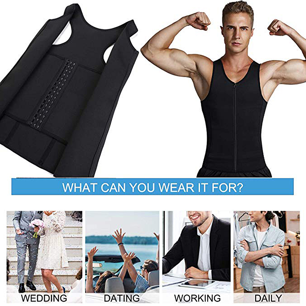 Lover Beauty Men's Slimming Vest Sweat Shirt Body Shaper Waist Trainer Shapewear Men Top Steel Boned Shapers Clothing Male