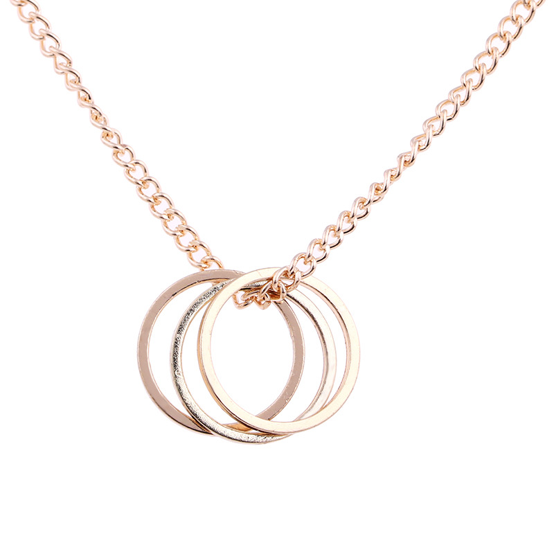 Fashion Jewelry Karma Gold-color Three Circle Pendant Necklace For Women Girl Gift 2