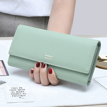 New Simple Design Multifunctional Purse PU Leather Women Wallet Long Style Soft Phone Purse Fashion Female Card Holder