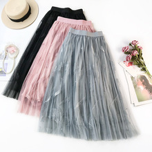 Feather Embroidery Tulle Skirt Long Skirt Elastic High Waist Pleated Skirts Womens New Fashion Layered Lace Mesh Skirt for Women цена 2017