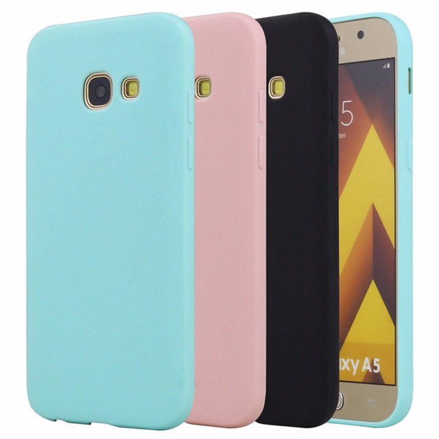 newest 68b1e 1d6bd US $1.19 40% OFF|Silicone Case For Samsung Galaxy A5 2017 2016 2015 Phone  Bag Case Rubber Matte Cute Back Cover For Samsung Galaxy A5 2017-in Fitted  ...