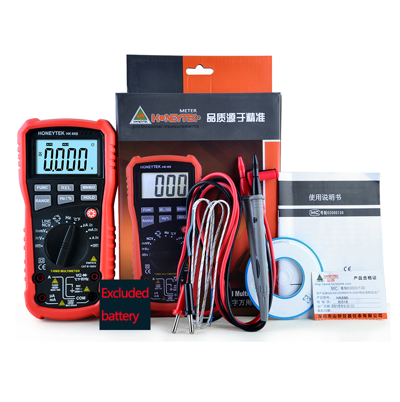 New electric HK68B high-precision DC/AC Capacitance Frequency multimeter K-Type thermometer Backlight LCD meter