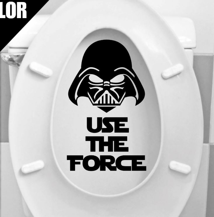 The Mysterious Power Toilet Seat Decal And Graphics Star Wars Darth Vader Bathroom Restroom Sticker GA046(China)