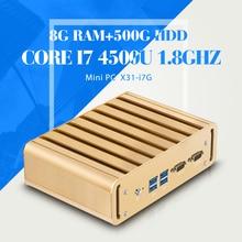 Мини-компьютер I7 4500U 8 Г RAM + 500 Г HDD + WI-FI 2 * LAN 2 * COM Рабочего Стола компьютер мини-пк поддержка Win7/8/10/Linux
