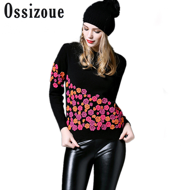 OSSIZOUE Luxury Brand Designer Runway Sweater 2017 Autumn Winter Fashion 3D Flowers Embroidery Silk Pullovers and Sweaters Tops
