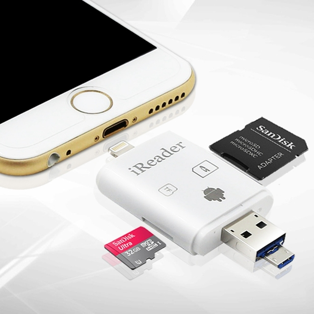 premium selection 9a50c 954c6 US $9.4 |Kismo 3 in 1 Micro USB OTG Card Reader Micro SD TF SD Memory Card  Reader for iPhone 6S 7 8 Plus Samsung A3 A5 A7 2016 S6 S7 Edge-in Card ...