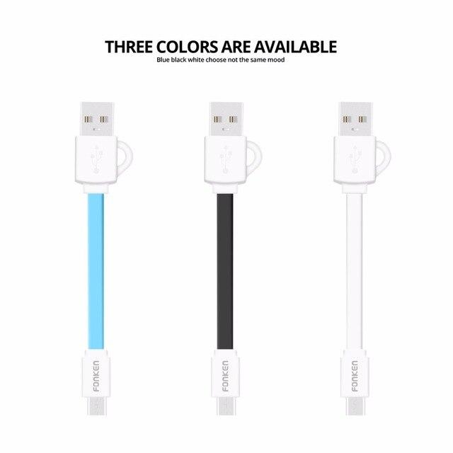 FONKEN Micro USB câble court téléphone câble de Charge cordon 10cm 2.4a chargeur câble 0.1m Microusb câble de Charge Mini Powerbank câble