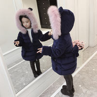 Little Girls Winter Coat with Fur Collar 2019 Kids Girls Long Jackets Thick Toddler Girl Winter Clothes Girls Outwear Pink Navy