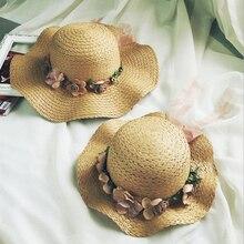 Summer Women wave Straw Caps Eaves Flower Big Sunshade Hat Beach sun