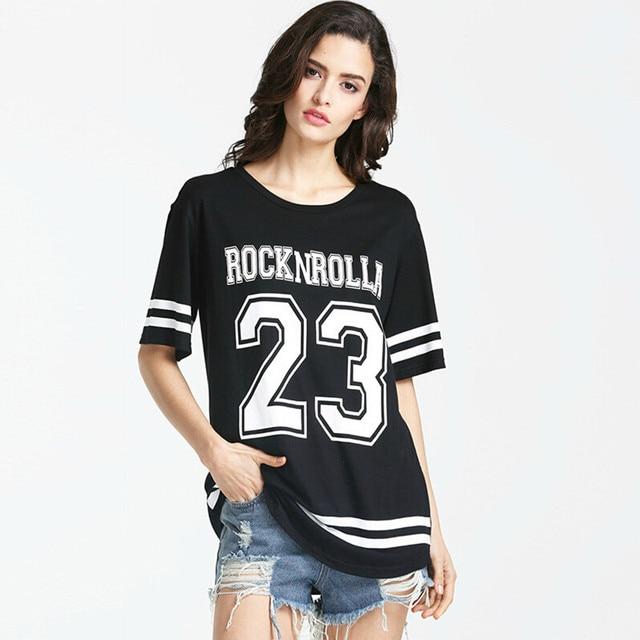 f1fb7928d Número moda de impresión camiseta floja Camisa larga Para Mujer Del Béisbol  Manga Corta T-