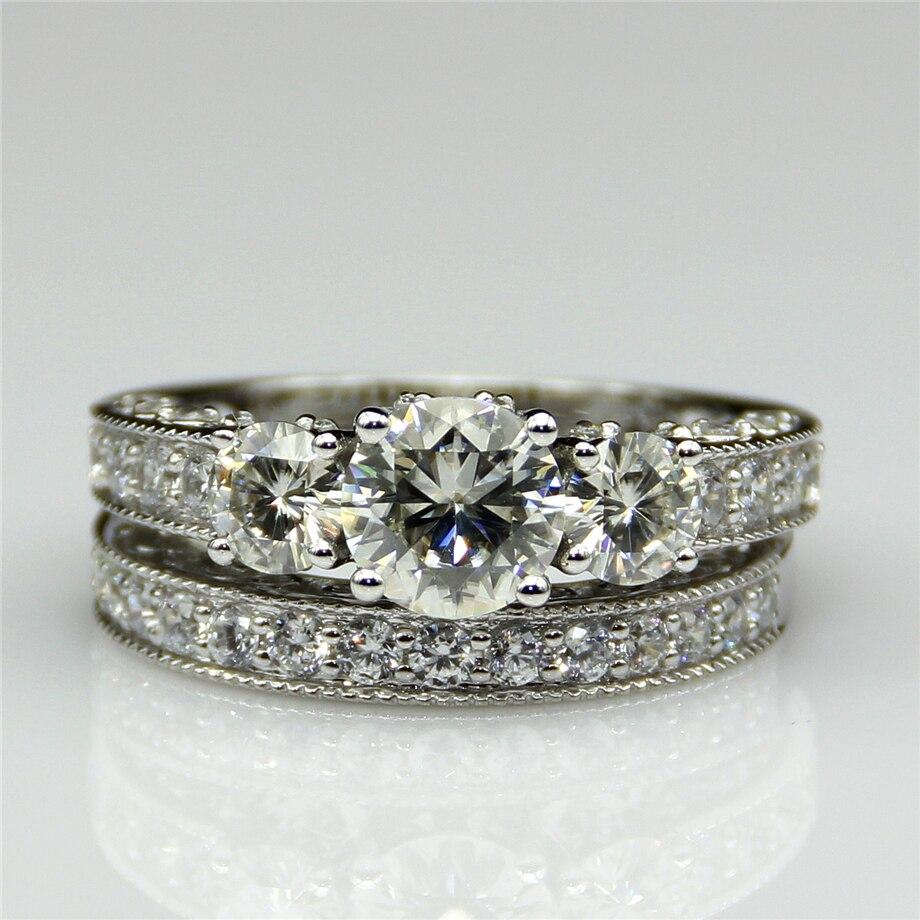 Round 1ct Esdomera Moissanites Vintage 3 Stone Accents 9k White Gold Wedding Bridal Set Wedding Rings