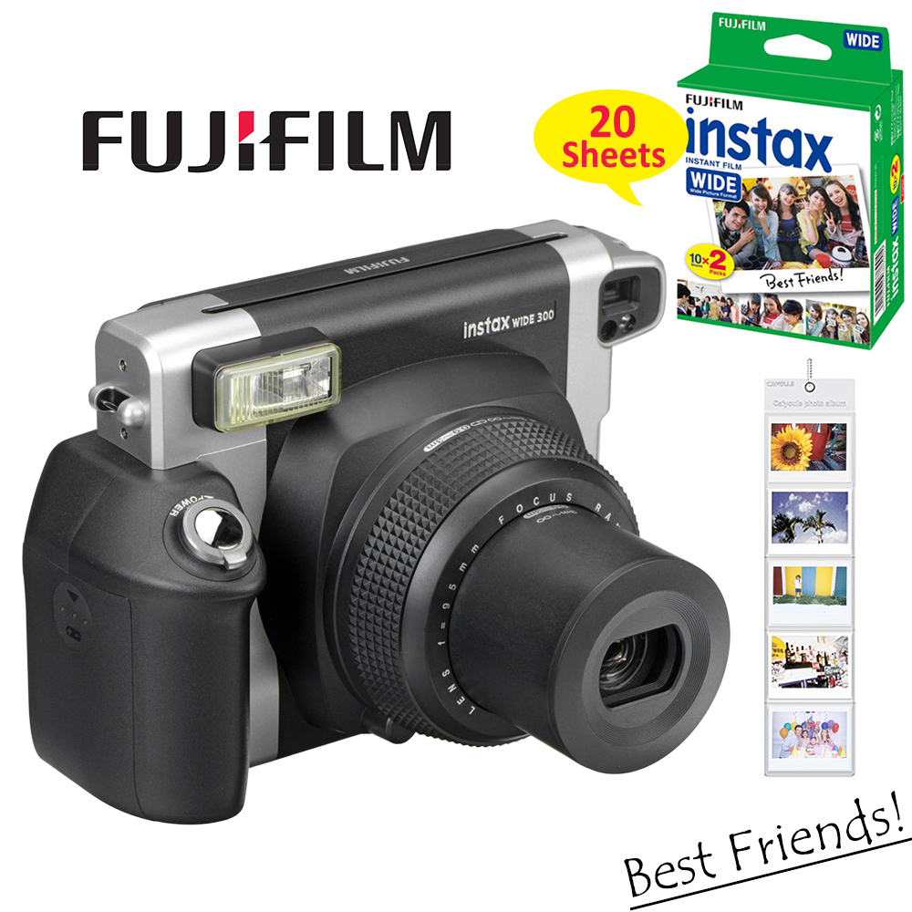 US $148 77 31% OFF|100% Authentic Fujifilm Instax WIDE 300 Film Instant  Camera + Fuji Instant 210 Wide Plain White Frame 20 Sheets Color Photos-in
