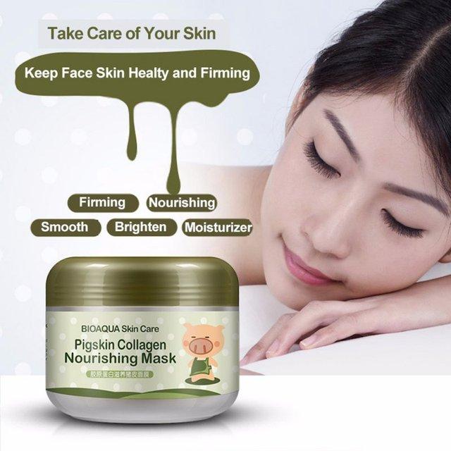 Domuz derisi Kollajen Besleyici Maskesi Nemlendirici Anti-Aging Uyku Maskesi Krem Kırışıklık Karşıtı Sihirli Yüz Maskesi Kozmetik Yeni 2018