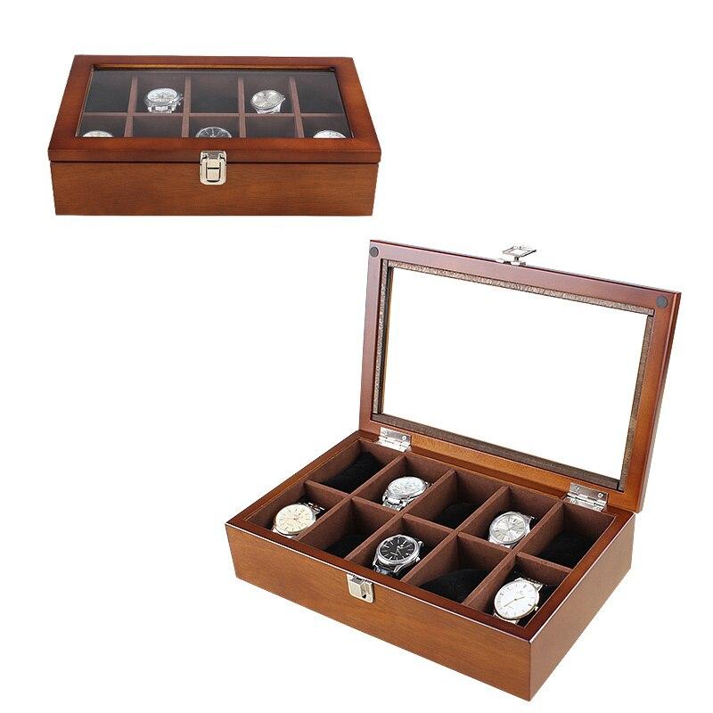 10 fentes bois montre boîte mode café montre affichage en bois boîte boîte montre pour hommes stockage cadeau boîtiers bijoux boîtes C030