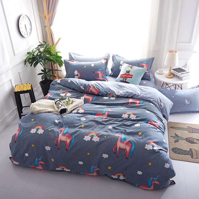 Licorne ensemble de literie De Noël décor à la maison draps linge de lit couverture de lit ensemble enfants bande dessinée parure de lit 4 pièces ensemble de couverture de lit oreiller couvre
