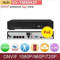 4 Channel NVR 4ch DVR POE For 1080P 960P 720P HD ONVIF IP Camera 1xHDD Slot