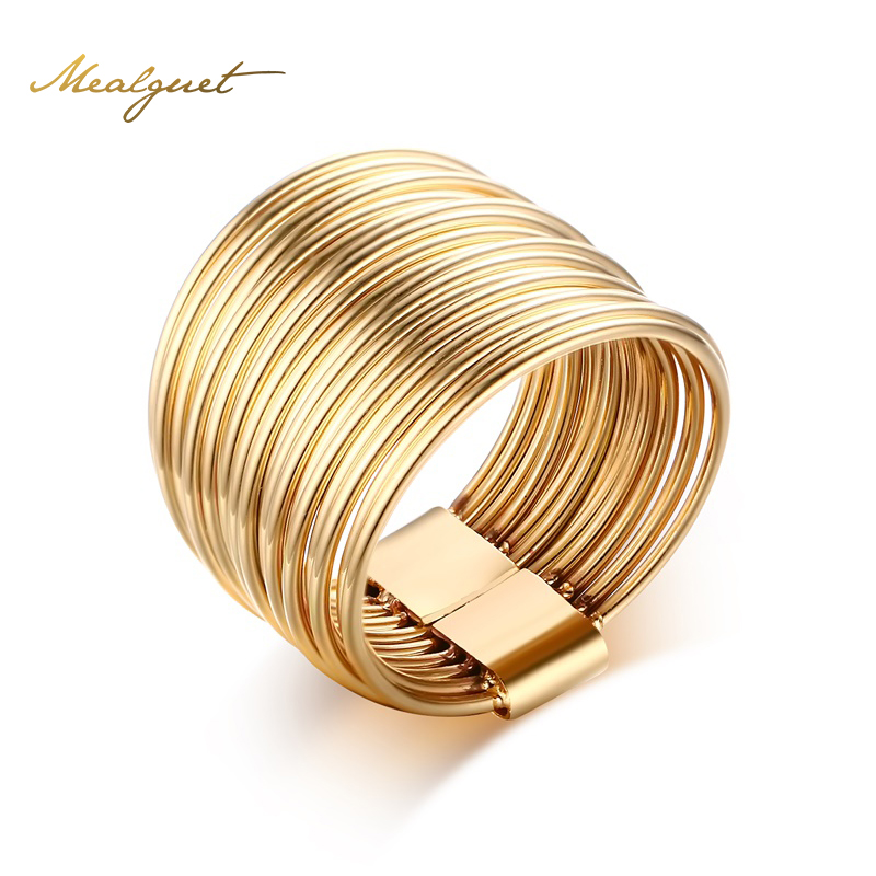 Meaeguet font b Feminine b font Women Ring Jewelry Gold Plated Stainless Steel Hollow Interlocked Stacking